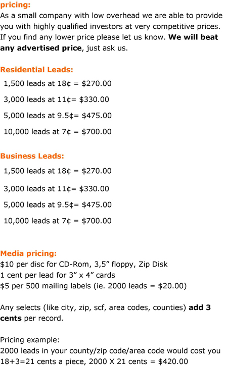Stock Broker Sales Leads
